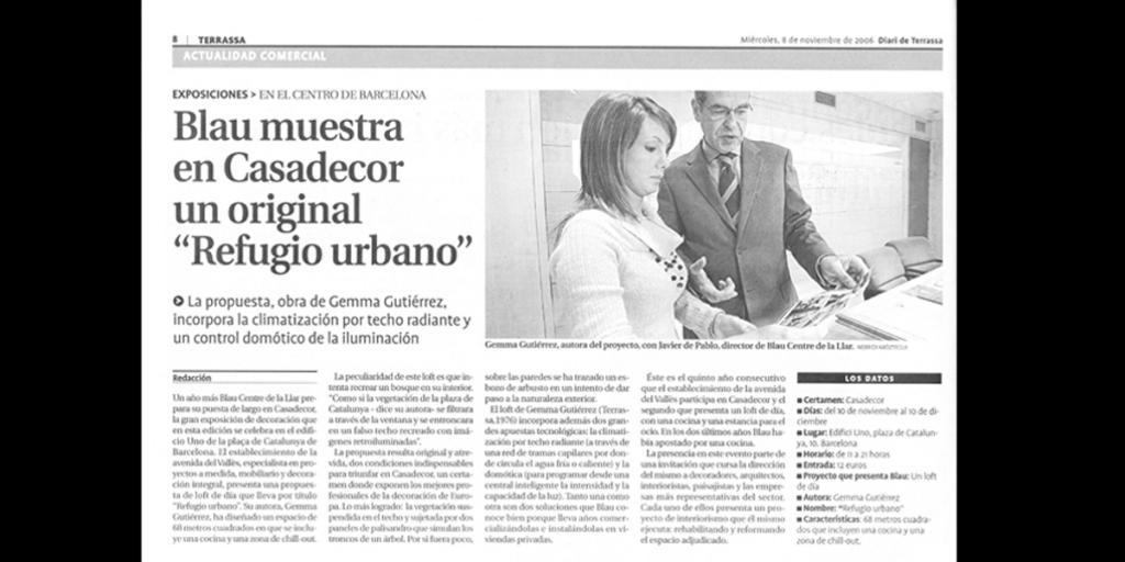 """""""Refugio Urbano"""" en el Diari de Terrassa"""